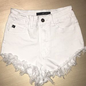Women's KanCan White Denim Cut Off Shorts
